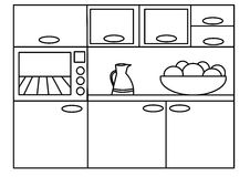 Kitchen. Black and white drawing of a kitchen Stock Photography