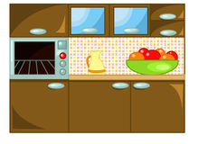 Kitchen. Colored illustration about a wooden  kitchen with fruit basket and milk jug Stock Photos