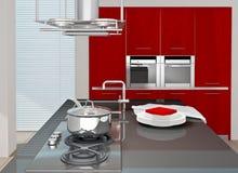 Kitchen. Fragment of modern kitchen interior. 3D rendered Stock Photography