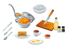 Kitchen. Various cooking utensils and ready meals vector illustration