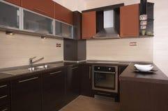 Kitchen. Modern design brown kitchen interior Royalty Free Stock Photo