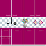 Kitchen. Illustration of a purple modern kitchen with a vase of flower.EPS file available stock illustration
