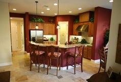 Kitchen. A beautiful, contemporary kitchen interior in an upscale home Royalty Free Stock Photo