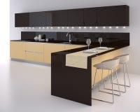 Kitchen. Interior of modern kitchen. 3d render Stock Images