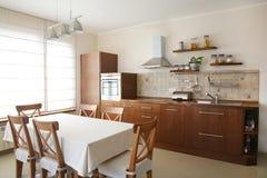 Kitchen. Natural wood brown kitchen interior stock photo