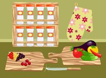 Kitchen. In a retro style with cutting boards and vegetables stock illustration