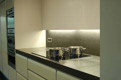 Kitchen. Modern design kitchen with ceramic cooking plate, over, microwave and steamer Stock Photos