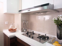 Kitchen. A morden kitchen with the stove and moke lampblack machine Stock Image