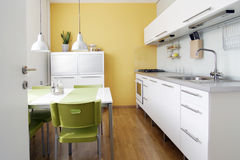 Kitchen. White kitchen in home. Modern kitchen Royalty Free Stock Photos