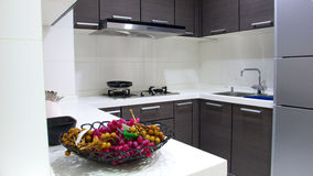 Kitchen. The new modern kitchen with fruit Royalty Free Stock Photos