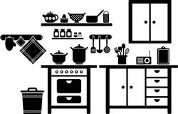 Kitchen. Vectorized kitchen in black and white Stock Image