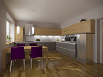 Kitchen. Simply kitchen design visualisation render royalty free illustration
