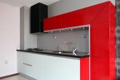 Kitchen. Modern design red kitchen interior stock images