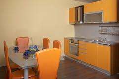 Kitchen. Modern design yellow kitchen interior Stock Images