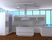 Kitchen. Of light tones on seacoast vector illustration