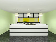 Kitchen. Interior with white furniture Royalty Free Stock Images