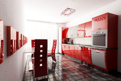Kitchen 3d render. Interior of modern kitchen 3d render Royalty Free Stock Photography