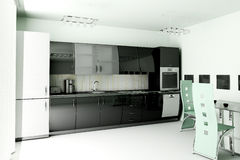 Kitchen 3d render. Interior of modern black kitchen 3d render Stock Photo