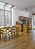 Kitchen. Wooden kitchen with dining room Stock Photo