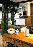 Kitchen. Big kitchen in rustic style Stock Images