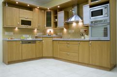 Kitchen. Modern kitchen interior with integrated appliances Stock Images