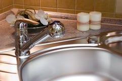 Kitchen. Detail of modern kitchen sink Stock Images