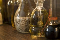 Kitchen. Some glas bottles in the kitchen Stock Images