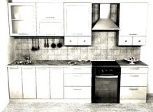 Kitchen. Background picture of a kitchen Stock Illustration