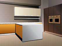 Kitchen 7 vector white orange Stock Photo