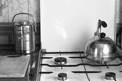 Kitchen. а kitchen in the morning black/white Royalty Free Stock Image