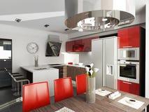 Kitchen. Modern interior design (privat apartment 3d rendering Royalty Free Stock Photos