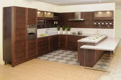 Kitchen. Modern style kitchen in brown color Royalty Free Stock Photo