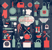 Kitchen abstact icons set. On wooden Royalty Free Illustration