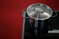 Kitchen accessories. Silver Pan on a plate Royalty Free Stock Photos