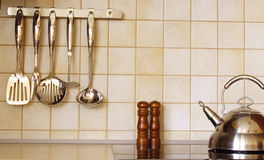 Kitchen accessories. Modern kitchen interior details royalty free stock photography