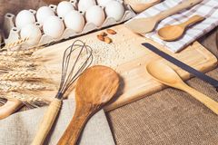 Kitchen accessories and Baking ingredients royalty free stock photography