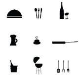 Kitchen accessories black art vector Stock Photo