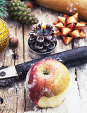 Kitchen accessories and Christmas toys Royalty Free Stock Photos