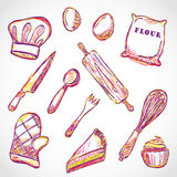 Kitchen accessories doodle Royalty Free Stock Image