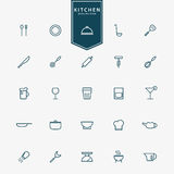 25 kitchen accessories minimal line icons. Vector Stock Images