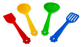 Kitchen accessories, turner, perforated turner, skimmer and  soup ladle Stock Image