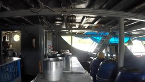 Kitchen activity on boat to Manaus stock video footage