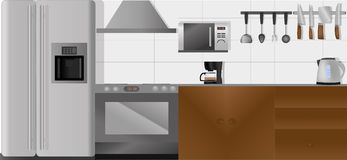 Kitchen with all the accessories in separate layers in vector Stock Images