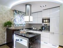 Kitchen. Apartmen kitchen interior design and decoration Stock Photos
