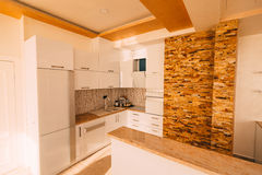 The kitchen in the apartment. The design of the kitchen room. Wo. Oden kitchen, refrigerator, stove, dining table. Kitchen interier Royalty Free Stock Images