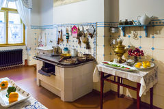 Kitchen in apartment of Latvian architect Konstantins Pekshens Royalty Free Stock Images