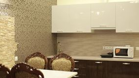 Kitchen in apartments. Kitchen and table in apartments shot stock footage