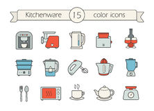 Kitchen appliance color icons set. Kitchenware color icons set. Coffee machine, electric mincer and kettle. Toaster, steam cooker, water filter and mixer. Juicer Stock Photos