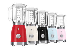 Kitchen Appliance Concept. Modern Multicolour Electric Blenders. Royalty Free Stock Photos