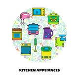 Kitchen appliance. Modern  illustration of different kitchen items: microwave, mixer, cooker, blender, steamer, kettle, bread maker, mincing machine Royalty Free Stock Photography